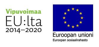 Vipuvoimaa EU:lta logo ja Euroopan unionin lippu